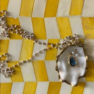 Jewelry - Oyster Shell Necklace with Blue Sapphire & Pearls